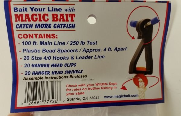 Magic Bait Co., 20 Hook Trotline, 100' Bead Line
