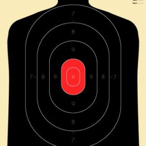 Silhouette Targets, 25 Yard Black/Red Center (B-34), Pack of 10