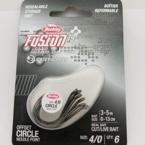 Berkley Fusion 19, Offset Circle Hook, Size 4/0, Per 6