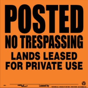 Voss Signs, No Trespass Leased, Metal, Orange, 10 Pack